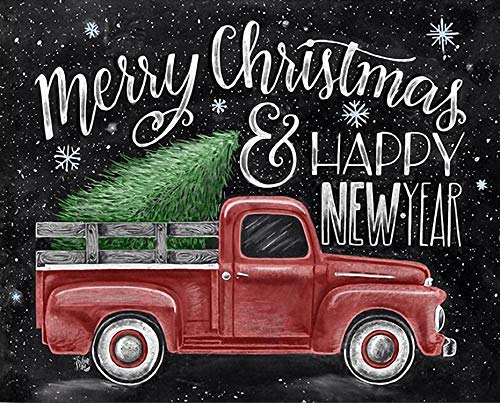 Merry Christmas 5D Diamond Painting by Number Art Kits Car - 16x12 inches Embroidery Kits for Adults Full Drill DIY Wall Art Craft Happy New Year