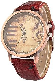 Monbedos Style Vintage Montre Femme–Piano Note Motif Montre pour Femme Cuir PU Femme Homme Wrist Watches-