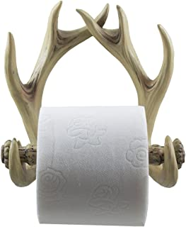 Decorative Deer Antlers Toilet Paper Holder in Weathered Look for Rustic Hunting or Fishing Cabin and Lodge Bathroom Decor...