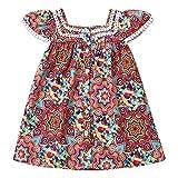 bilison Toddler Baby Girl Clothes Bohemian Short Sleeveless Flower Princess Floral Dress A-line Formal Kids Summer Dress Skirt