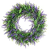 U'Artlines 15.7inch Artificial Eucalyptus Wreath with Purple Leaves for Front Door Wall Hanging Window Wedding Party Decoration