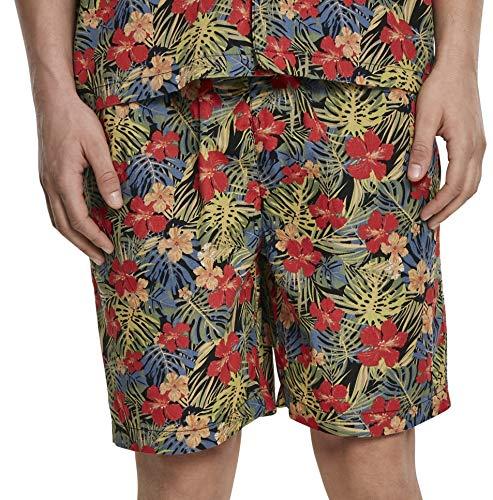 Urban Classics Pattern Resort Shorts Bañador, Multicolor (Black/Tropical 02050), XXX-Large para Hombre