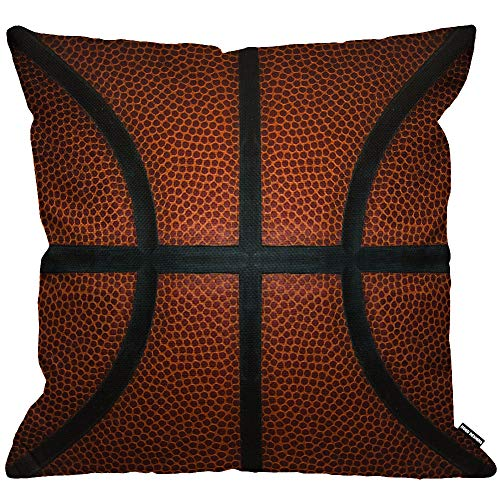 HGOD DESIGNS Basketball Cushion Cover,Game Leather Texture Spot Sport Red Black Throw Pillow Case Home Decorative for Men/Women Living Room Bedroom Sofa Chair 18X18 Inch Pillowcase 45X45cm
