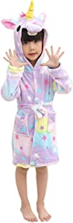 Kids Unicorn Hooded Bathrobes Flannel Robe Pajamas Unisex Animal Sleepwear Gift NO.140