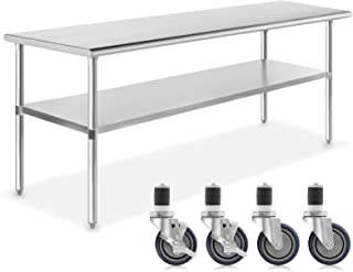 GRIDMANN NSF Stainless Steel Commercial Kitchen Prep & Work Table w/ 4 Casters (Wheels) - 72 in. x 24 in.