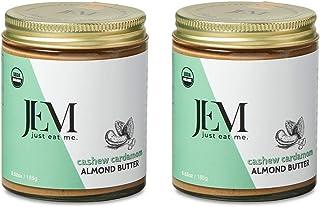JEM Cashew Cardamom Almond Nut Butter, All Natural, Organic, Gluten-Free, Vegan, Paleo, Keto Snack, 6 oz Jar, 2-Pack