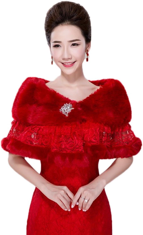 AK Beauty Women's Faux Fur Wrap Shawl Cape Stole Winter