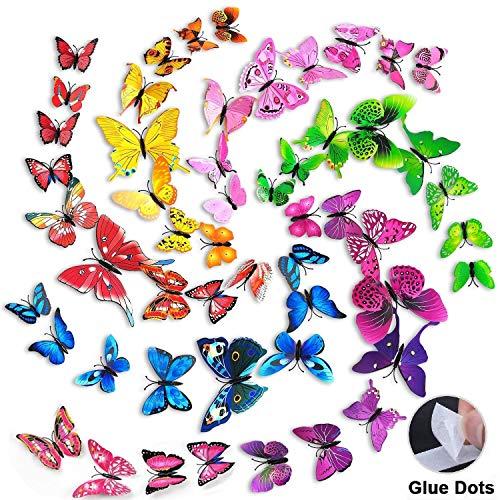 beihuazi® 72 Stück 3D Schmetterlinge Deko Wandtattoo Aufkleber für Wohnzimmer, Kinderzimmer, Türen, Fenster, Badezimmer, Kühlschrank