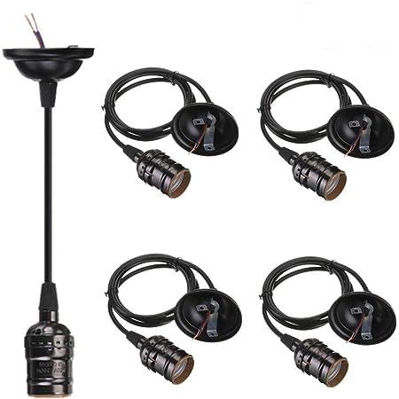 4-Pack Pendant Light Cord, HESSION Industrial Edison Pendant Light Kit, Vintage Style One-Light E26 Lamp Socket, Adjustable Black Light Cord Mini Pendant Light Fixture (Black)