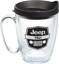 Tervis 1267874Jeep شعار العلامة التجارية–كوب ذات شعار على الغطاء 453.6gram جم بمقبض أسود ، واضحة