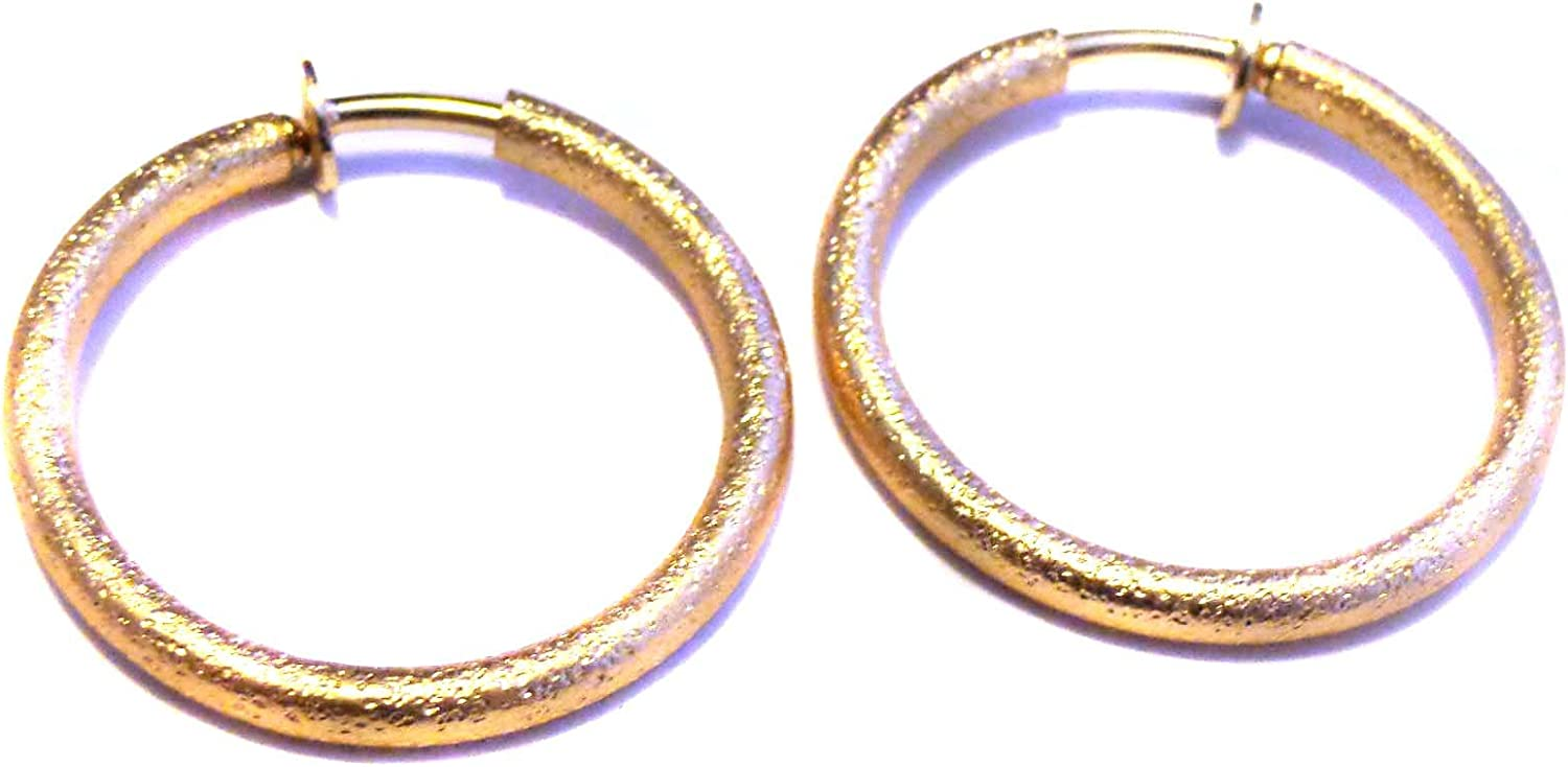Clip-on Earrings High quality Hoop Frosted Gold 5% OFF 1 Textured inch