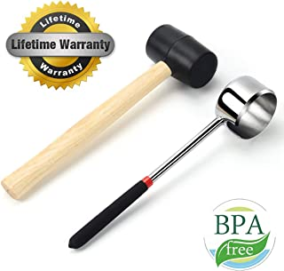 Coconut Opener Tool Set for Young Coconut,Food Grade Stainless Steel Coconut Opener Set with Rubber Mallet