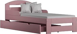 Children's Beds Home Lit Simple en Bois Massif - Kiko avec tiroirs et Matelas en Mousse (190x90 + tiroirs + Matelas, Rose)