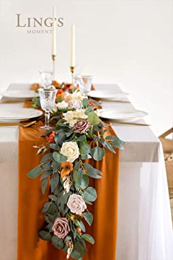 Ling's moment Eucalyptus Garland with Flowers 6FT,Table Runner with Flowers Terracotta Handcrafted Wedding Centerpieces f