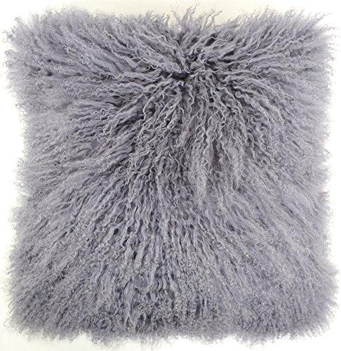 Kissenbezug mit Innenkissen, aus langem, gelocktem, mongolischem Schafsfell, 40 x 40 cm, von Snugrugs, Grau - grau - Größe: 40 cm x 40 cm