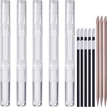 KINGMAS 5 pcs 3ml Cuticle & Nail Oil Pen Lip Gloss Container Applicators Growth Liquid Tube, Transparent Empty Twist Pens