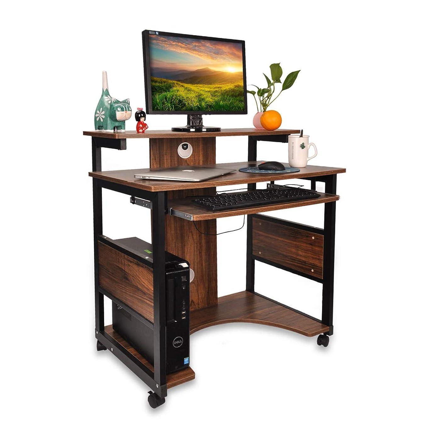構造パーセント有名DEWEL パソコンデスク pcデスク パソコン 机 デスク 木製 テーブル ワークデスク学習机 スリム キャスター付き 80cm*50cm*87cm