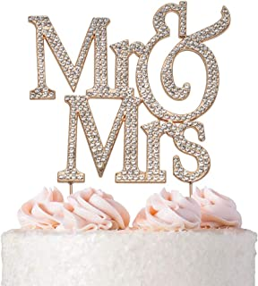 Mr and Mrs ROSE GOLD Cake Topper | Premium Crystal Bling Rhinestone Diamond | Wedding Anniversary Bridal Shower Bachelorette Party or Vow Renewal Decoration Ideas | Perfect Keepsake