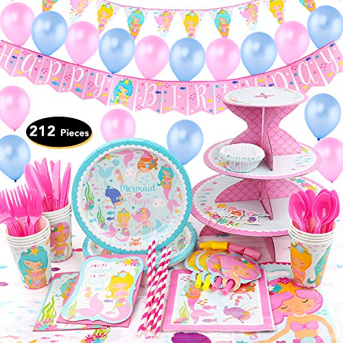 hapycity 212Pieces Mermaid Birthday Set Party Supplies Serves 16 for Kids Birthday Theme Party Baby Shower School Party Daily Dinner