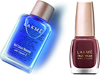 Lakmé Nail Color Remover, 27ml & Lakmé True Wear Nail Color, Reds and Maroons 401, 9 ml