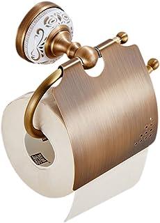 weare Home Baño zube hür individualmente mano–Toallero (latón antiguo Vintage Retro Diseño pared Lunes pared para taladrar con cerámica Oro Patrón Toilettenpapierhalter