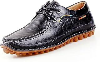 メンズレザーローファーシューズ 秋と冬 ?メンズカジュアル 革靴 ?レースアップシューズ ローファーシューズ (色 : ブラック, サイズ : 25.5 cm)