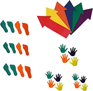 GSI Spot Marker Combo-Hand 6 Pairs, Feet 6 Pairs, Arrow 6 Pieces for Kids Learning and Education Games