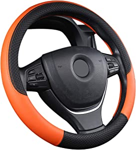 RENNICOCO Pcs Leather Steering Wheel Cover Universal 38cm Breathable Anti-slip Protector
