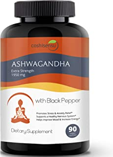 Ashwagandha Organic Capsules 1950mg with Black Pepper - Ashwagandha Extract Root - Stress Relief - Anti Anx...