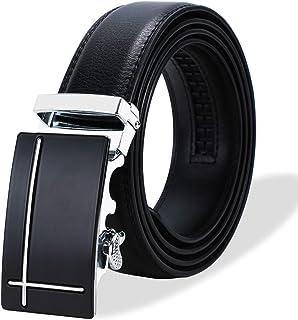 Ratchet Belt for Men, SIAELT Slide Genuine Leather Belt with Automatic Click Buckle …
