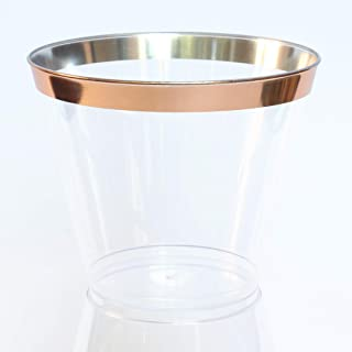 100 Plastic Party Cups with Rose Gold Rim 9 oz | Clear Hard Fancy Rimmed Tumblers for Wedding, Bachelorette, Birthday, Drinks and Desserts | Disposable, Reusable and Recyclable