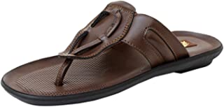 Athlego Men's Synthetic Leather Flip-Flops & floaters in Brown Color