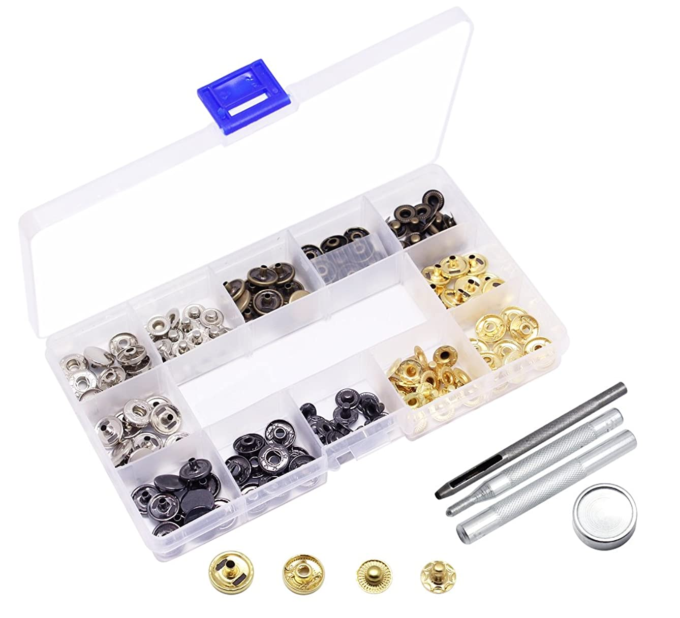 Yotako 40 Set Snap Fastener Leather Snaps Button Kit Press Studs with 4 Pieces Fixing Tools, 12.5mm in Diameter