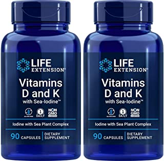 Life Extension Vitamins D and K with Sea-Iodine, 90 Caps (Pack of 2)