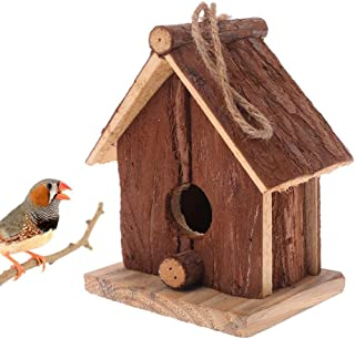Tfwadmx Bird Feeder House for Outside Hanging, Wooden Birdhouse Garden Paint Bird Hut for Wren Chickadee Sparrow Hummingbird Finch Swallows Cedarand Throstle (Small)