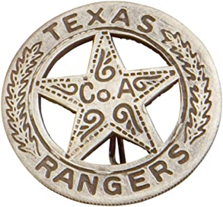 SILVER TEXAS RANGER BADGE WITH PESO BACK