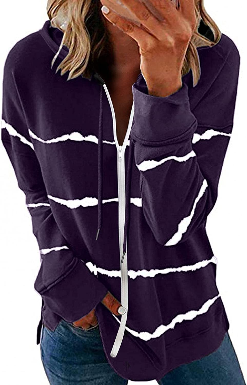Oiumov Hoodies for Women Zip Up Lightweight Long Sleeve Stripe Hooded Sweatshirts Pullover Tops Jacket Coats with Pockets
