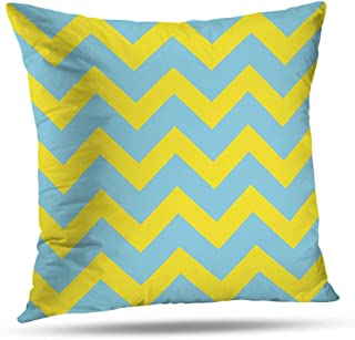 KJONG Blue Throw Pillows Blue and Yellow Chevron Yellow Pillows Decorative Fashion Style Square Decorative Pillow Covers Cushion (2 Sides Print)Throw Pillow Covers 18 X 18  inch, Blue