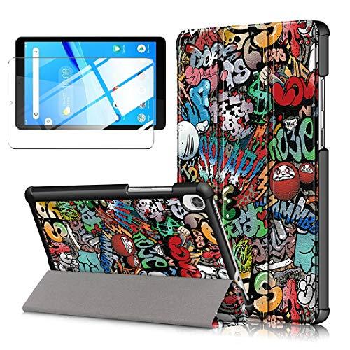 LJSM Funda + Protector Pantalla para Lenovo Tab M8 FHD TB-8705F/N 8.0' - Vidrio Templado, Carcasa Silicona Smart Cover con Soporte Función Caso PU Flip Case - Graffiti