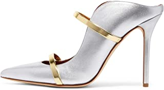 Women Fashion Pointy Toe Pumps High Heels Mule Sandals Double Straps Slide Shoes Size 4-15 US
