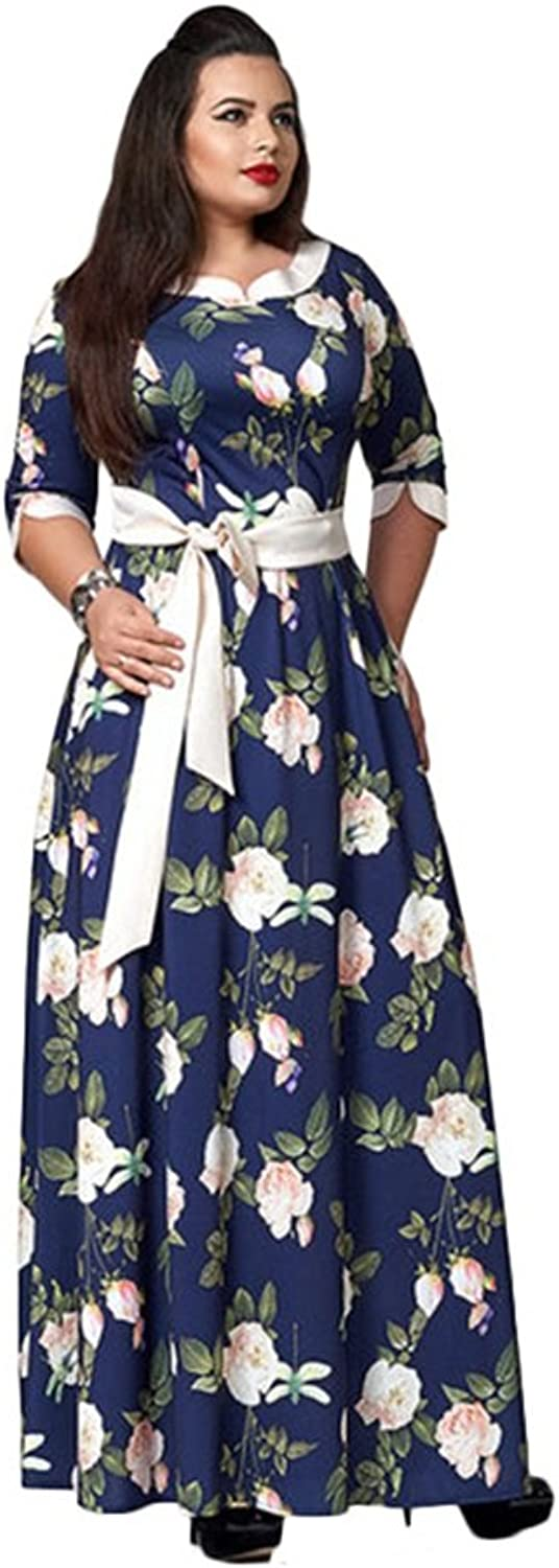 Women's Print Dress,Ladies Belted Party Prom Dress,Spring Fall Tops (color   Dark bluee, Size   XL)
