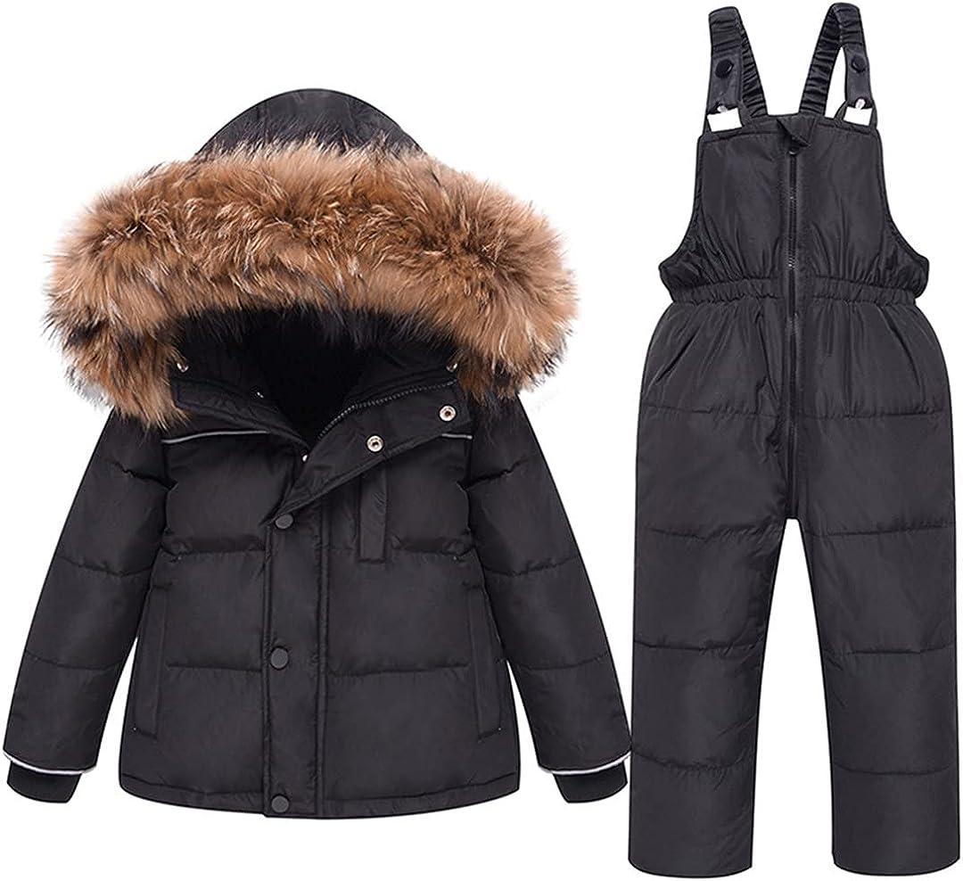 GHURFNP Winter Jumpsuit for Children Down Thicken Ski Suit Girl Snowsuit Parka Coat