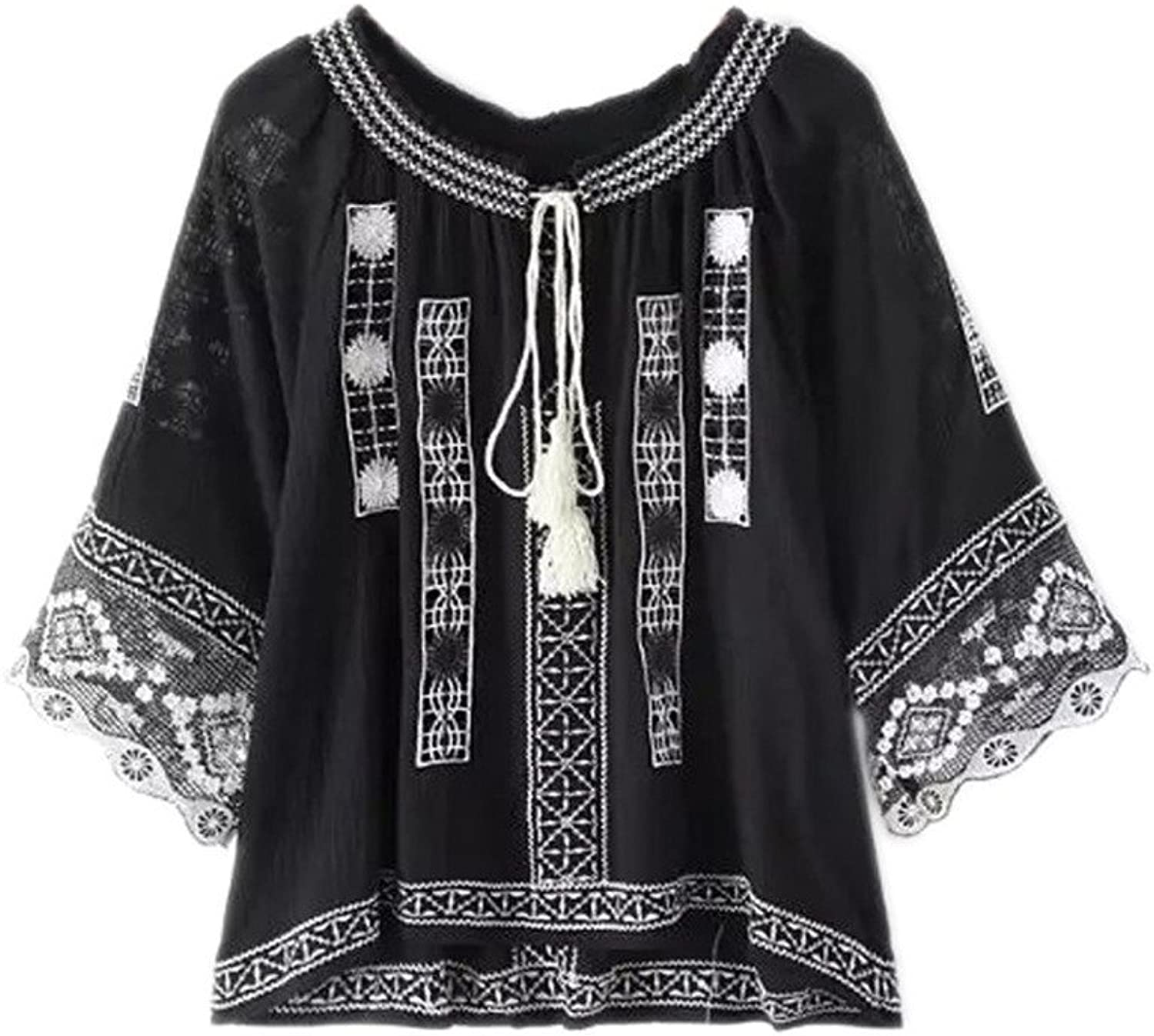 Joeoy Women's Bohemian Embroidered 3 4 Sleeve Peasant Blouse Shirt