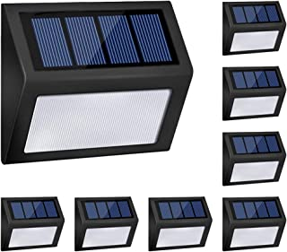 Honor-Y LED Solar Lights Outdoor, Solar Powered Step Lights Wireless Waterproof Outdoor Security Lamps Lighting for Front Door/Back Yard/Driveway/Garage/Outdoor Wall (White Light, 8 Pack)