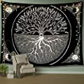 """A AMEBAY Sun and Moon Tapestry, Black and White Tree Wall Hanging Mandala Bohemian Wall Tapestry for Bedroom Live Room 80"""" 60"""""""