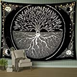 A AMEBAY Black and White Tapestry for Bedroom, Tree of Life Sun and Moon Tapestry Wall Hanging 80' 60'