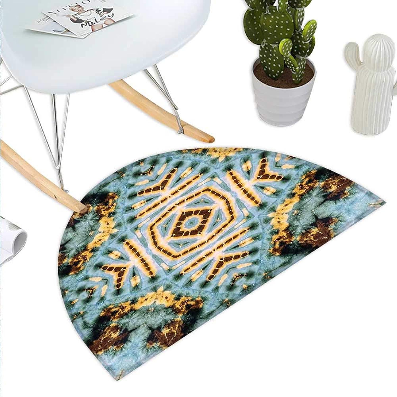 Hippie Semicircle Doormat Close Hippie Kaleidoscope Motif Maya Clan Figures Dirt Tones Counter Culture Print Halfmoon doormats H 23.6  xD 35.4  Yellow bluee