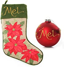 The Christmas Cart Personalised Gifts & Keepsakes Burlap Poinsettia Stocking and Bauble Pack