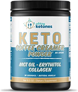 Catching Ketones Keto Coffee Creamer with MCT Oil, French Vanilla Creamer with Powdered Erythritol Sweetener-Monkfruit Swe...