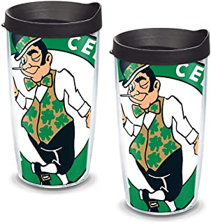 Tervis NBA Boston Celtics Colossal Tumbler with Wrap and Black Lid 2 Pack 16oz, Clear